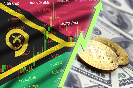 Vanuatu flag and cryptocurrency growing trend with two bitcoins on dollar bills. Concept of raising Bitcoin in price against the dollar