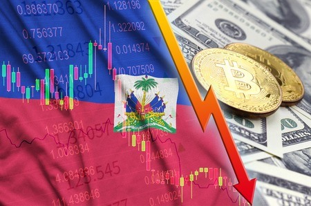 Haiti flag and cryptocurrency falling trend with two bitcoins on dollar bills. Concept of depreciation Bitcoin in price against the dollar