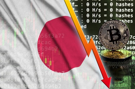 Japan flag and falling red arrow on bitcoin mining screen and two physical golden bitcoins. Concept of low conversion in cryptocurrency mining Zdjęcie Seryjne