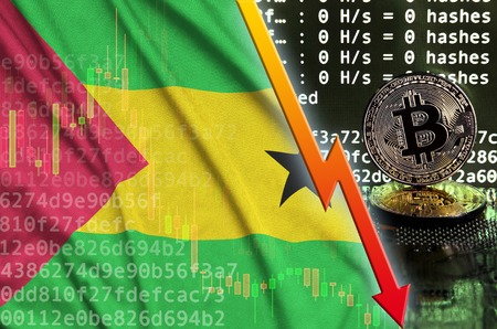 Sao Tome and Principe flag and falling red arrow on bitcoin mining screen and two physical golden bitcoins. Concept of low conversion in cryptocurrency mining Foto de archivo