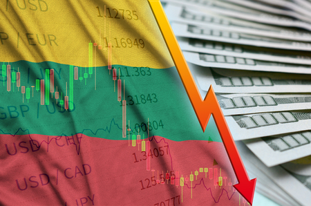 Lithuania flag and chart falling US dollar position with a fan of dollar bills. Concept of depreciation value of US dollar currency