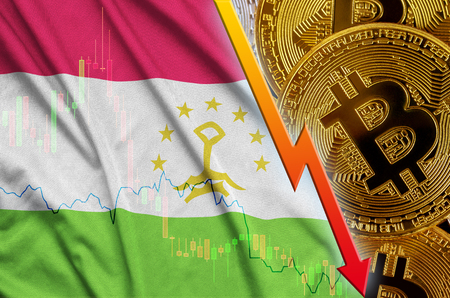 Tajikistan flag and cryptocurrency falling trend with many golden bitcoins. Concept of reduction Bitcoin in price or bad conversion in cryptocurrency mining