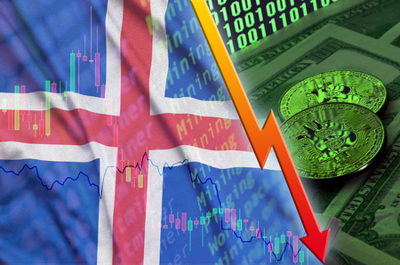 Iceland flag and cryptocurrency falling trend with two bitcoins on dollar bills and binary code display. Concept of reduction Bitcoin in price and bad conversion in cryptocurrency mining