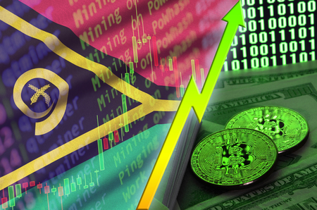 Vanuatu flag and cryptocurrency growing trend with two bitcoins on dollar bills and binary code display. Concept of raising Bitcoin in price and high conversion in cryptocurrency mining