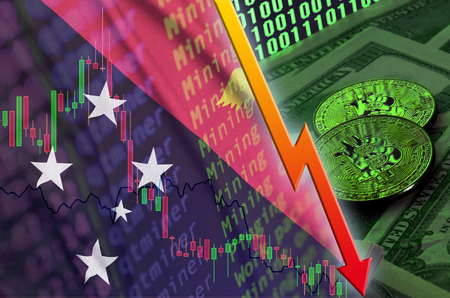 Papua New Guinea flag and cryptocurrency falling trend with two bitcoins on dollar bills and binary code display. Concept of reduction Bitcoin in price and bad conversion in cryptocurrency mining Stock Photo