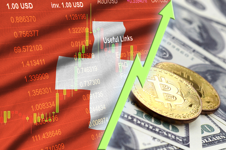 Switzerland flag and cryptocurrency growing trend with two bitcoins on dollar bills. Concept of raising Bitcoin in price against the dollar Standard-Bild