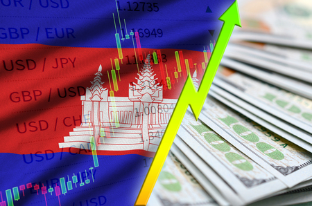Cambodia flag and chart growing US dollar position with a fan of dollar bills. Concept of increasing value of US dollar currency