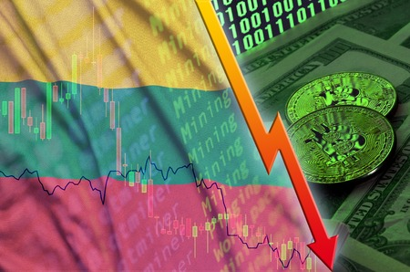Lithuania flag and cryptocurrency falling trend with two bitcoins on dollar bills and binary code display. Concept of reduction Bitcoin in price and bad conversion in cryptocurrency mining