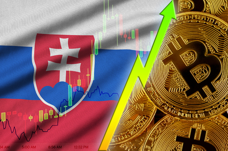 Slovakia flag  and cryptocurrency growing trend with many golden bitcoins. Concept of raising Bitcoin in price or high conversion in cryptocurrency mining