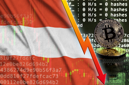 Austria flag and falling red arrow on bitcoin mining screen and two physical golden bitcoins. Concept of low conversion in cryptocurrency mining