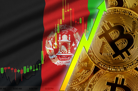 Afghanistan flag and cryptocurrency growing trend with many golden bitcoins. Concept of raising Bitcoin in price or high conversion in cryptocurrency mining