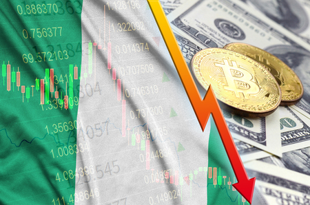 Nigeria flag and cryptocurrency falling trend with two bitcoins on dollar bills. Concept of depreciation Bitcoin in price against the dollar 写真素材