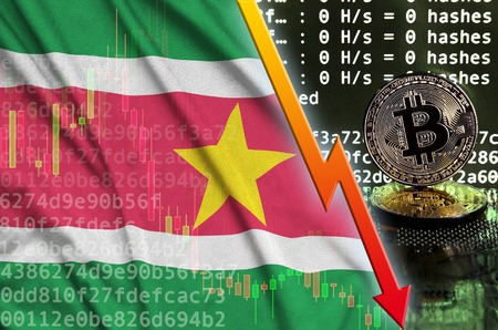 Suriname flag and falling red arrow on bitcoin mining screen and two physical golden bitcoins. Concept of low conversion in cryptocurrency mining Zdjęcie Seryjne