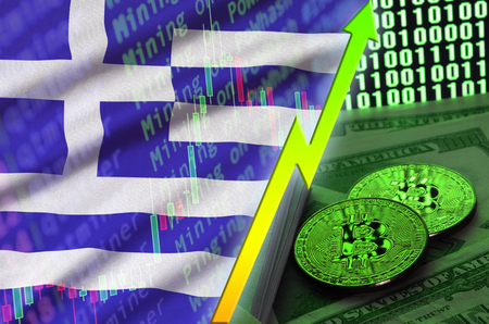Greece flag and cryptocurrency growing trend with two bitcoins on dollar bills and binary code display. Concept of raising Bitcoin in price and high conversion in cryptocurrency mining
