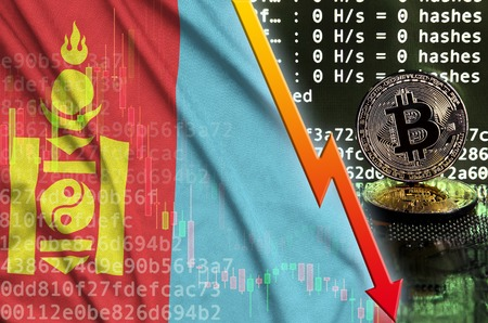 Mongolia flag and falling red arrow on bitcoin mining screen and two physical golden bitcoins. Concept of low conversion in cryptocurrency mining