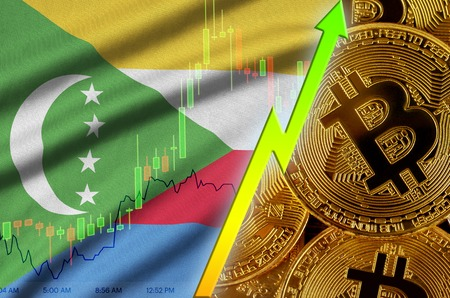 Comoros flag  and cryptocurrency growing trend with many golden bitcoins. Concept of raising Bitcoin in price or high conversion in cryptocurrency mining