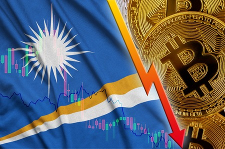 Marshall Islands flag and cryptocurrency falling trend with many golden bitcoins. Concept of reduction Bitcoin in price or bad conversion in cryptocurrency mining Zdjęcie Seryjne