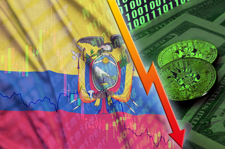 Ecuador flag and cryptocurrency falling trend with two bitcoins on dollar bills and binary code display. Concept of reduction Bitcoin in price and bad conversion in cryptocurrency mining
