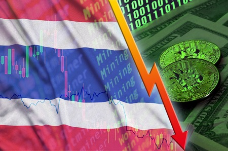 Thailand flag and cryptocurrency falling trend with two bitcoins on dollar bills and binary code display. Concept of reduction Bitcoin in price and bad conversion in cryptocurrency mining