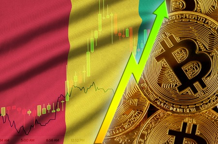 Guinea flag  and cryptocurrency growing trend with many golden bitcoins. Concept of raising Bitcoin in price or high conversion in cryptocurrency mining