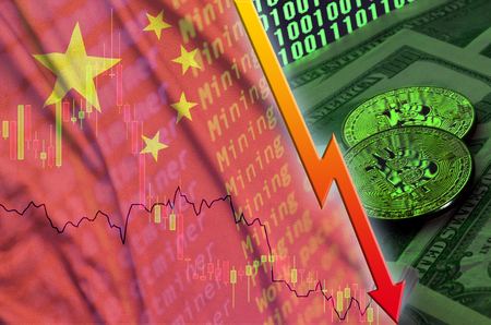 China flag and cryptocurrency falling trend with two bitcoins on dollar bills and binary code display. Concept of reduction Bitcoin in price and bad conversion in cryptocurrency mining
