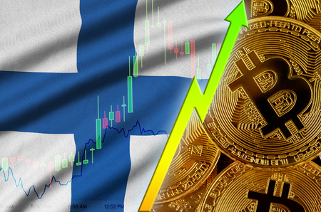 Finland flag  and cryptocurrency growing trend with many golden bitcoins. Concept of raising Bitcoin in price or high conversion in cryptocurrency mining