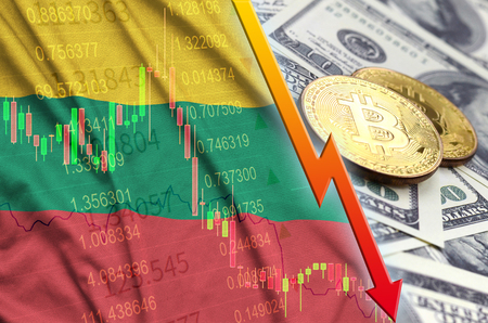 Lithuania flag and cryptocurrency falling trend with two bitcoins on dollar bills. Concept of depreciation Bitcoin in price against the dollar
