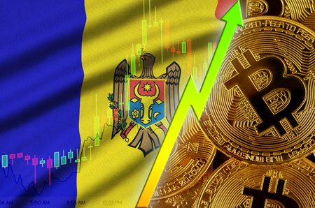 Moldova flag  and cryptocurrency growing trend with many golden bitcoins. Concept of raising Bitcoin in price or high conversion in cryptocurrency mining