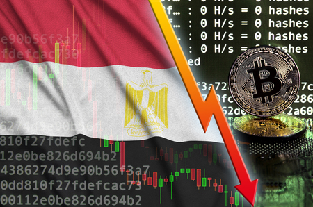 Egypt flag and falling red arrow on bitcoin mining screen and two physical golden bitcoins. Concept of low conversion in cryptocurrency mining