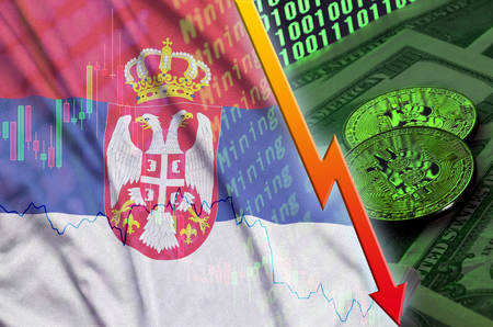 Serbia flag and cryptocurrency falling trend with two bitcoins on dollar bills and binary code display. Concept of reduction Bitcoin in price and bad conversion in cryptocurrency mining