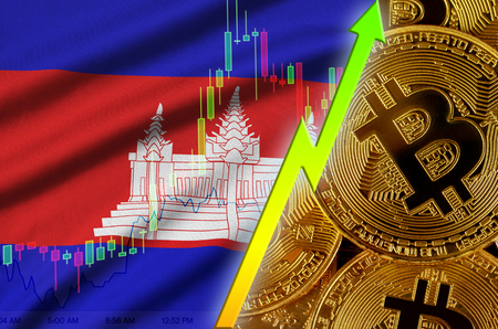 Cambodia flag  and cryptocurrency growing trend with many golden bitcoins. Concept of raising Bitcoin in price or high conversion in cryptocurrency mining