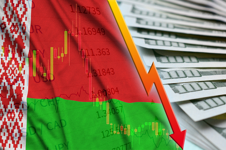 Belarus flag and chart falling US dollar position with a fan of dollar bills. Concept of depreciation value of US dollar currency