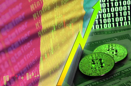 Guinea flag and cryptocurrency growing trend with two bitcoins on dollar bills and binary code display. Concept of raising Bitcoin in price and high conversion in cryptocurrency mining