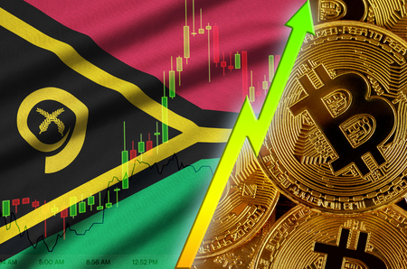 Vanuatu flag  and cryptocurrency growing trend with many golden bitcoins. Concept of raising Bitcoin in price or high conversion in cryptocurrency mining
