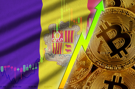 Andorra flag  and cryptocurrency growing trend with many golden bitcoins. Concept of raising Bitcoin in price or high conversion in cryptocurrency mining 免版税图像