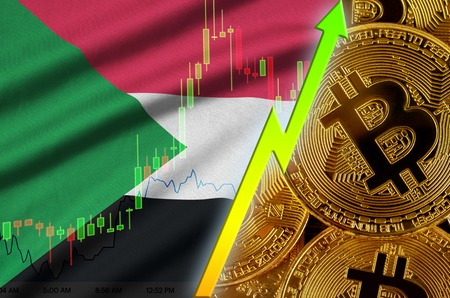 Sudan flag  and cryptocurrency growing trend with many golden bitcoins. Concept of raising Bitcoin in price or high conversion in cryptocurrency mining 免版税图像