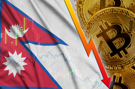Nepal flag and cryptocurrency falling trend with many golden bitcoins. Concept of reduction Bitcoin in price or bad conversion in cryptocurrency mining