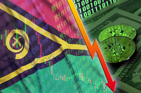 Vanuatu flag and cryptocurrency falling trend with two bitcoins on dollar bills and binary code display. Concept of reduction Bitcoin in price and bad conversion in cryptocurrency mining