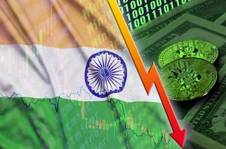 India flag and cryptocurrency falling trend with two bitcoins on dollar bills and binary code display. Concept of reduction Bitcoin in price and bad conversion in cryptocurrency mining