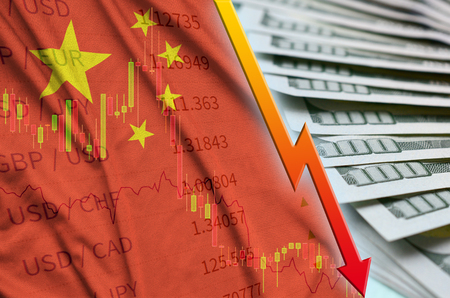 China flag and chart falling US dollar position with a fan of dollar bills. Concept of depreciation value of US dollar currency