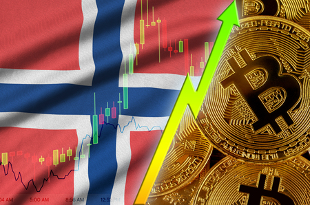 Norway flag  and cryptocurrency growing trend with many golden bitcoins. Concept of raising Bitcoin in price or high conversion in cryptocurrency mining