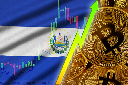 El Salvador flag and cryptocurrency growing trend with many golden bitcoins. Concept of raising Bitcoin in price or high conversion in cryptocurrency mining