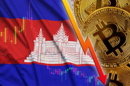 Cambodia flag and cryptocurrency falling trend with many golden bitcoins. Concept of reduction Bitcoin in price or bad conversion in cryptocurrency mining
