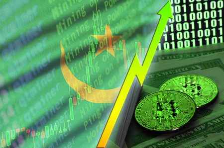 Mauritania flag and cryptocurrency growing trend with two bitcoins on dollar bills and binary code display. Concept of raising Bitcoin in price and high conversion in cryptocurrency mining