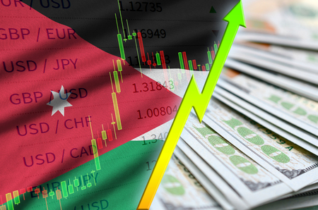 Jordan flag and chart growing US dollar position with a fan of dollar bills. Concept of increasing value of US dollar currency