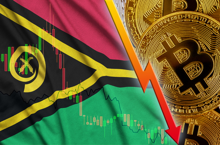 Vanuatu flag and cryptocurrency falling trend with many golden bitcoins. Concept of reduction Bitcoin in price or bad conversion in cryptocurrency mining