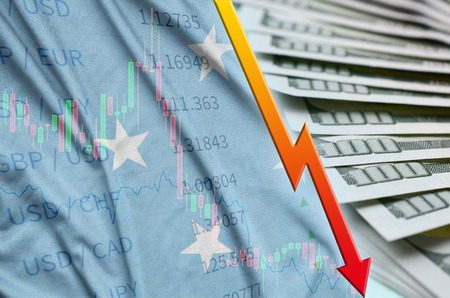 Micronesia flag and chart falling US dollar position with a fan of dollar bills. Concept of depreciation value of US dollar currency