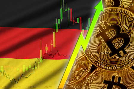 Germany flag  and cryptocurrency growing trend with many golden bitcoins. Concept of raising Bitcoin in price or high conversion in cryptocurrency mining