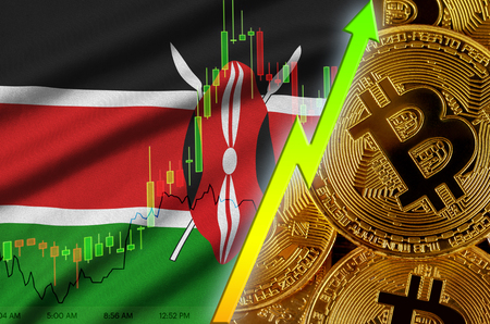 Kenya flag  and cryptocurrency growing trend with many golden bitcoins. Concept of raising Bitcoin in price or high conversion in cryptocurrency mining