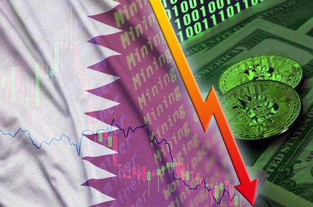 Qatar flag and cryptocurrency falling trend with two bitcoins on dollar bills and binary code display. Concept of reduction Bitcoin in price and bad conversion in cryptocurrency mining
